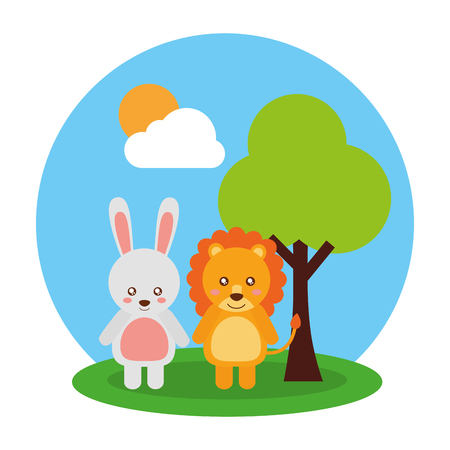 Cute animals rabbit and lion tree cloud and sun vector illustration