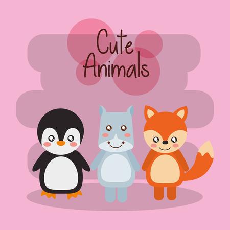 cute animals penguin hippo tiger baby friendly vector illustration Illustration