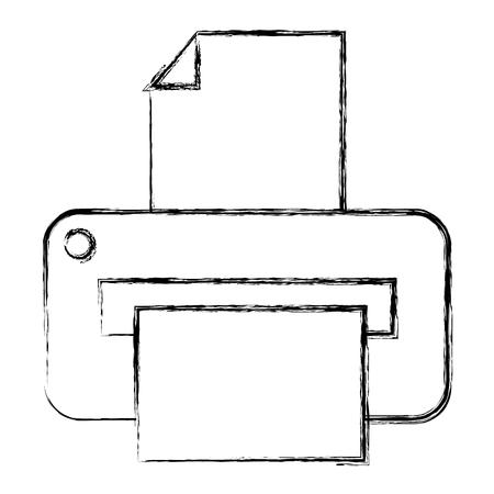 Ontwerp van de printer het hardware geïsoleerde pictogram vectorillustratie
