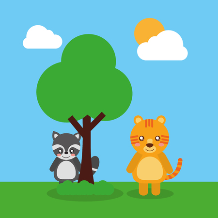 twee schattige dieren wasbeer en tijger vriendelijke vectorillustratie