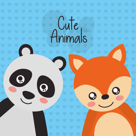 Two cute animals panda and fox friendly vector illustration