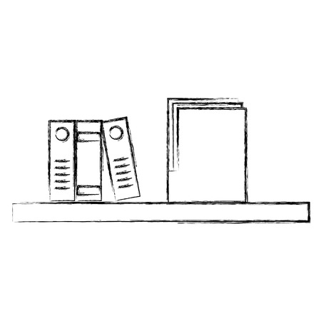 Shelf with folder and organizer books vector illustration design