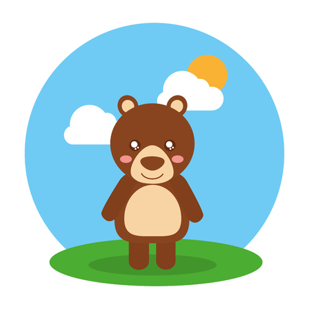 Cute animal baby bear standing in field clouds and sun vector illustration Ilustracja