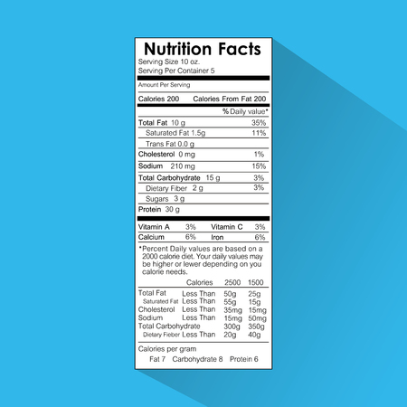 Nutrition facts food label information healthy vector illustration Ilustração