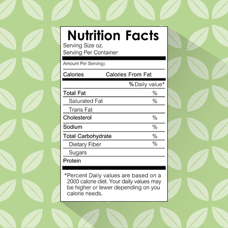 nutrition facts food label floral background vector illustration