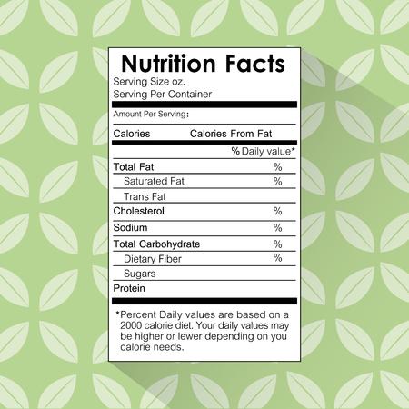nutrition facts food label floral background vector illustration