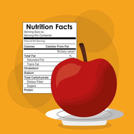 nutrition facts of apple fruit label content template vector illustration Ilustração