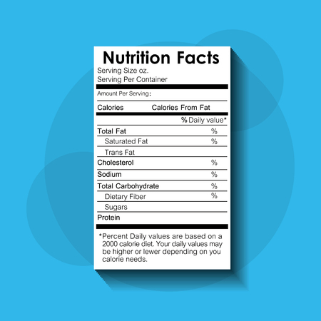 nutrition facts food recommended standard label vector illustration