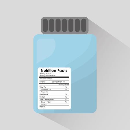 bottle glass nutrition facts sticker information vector illustration