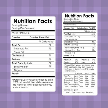 nutrition facts food labels information healthy vector illustration Ilustração