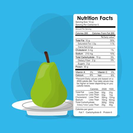 梨果実ラベルコンテンツテンプレートベクトルイラストの栄養事実