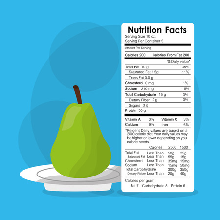 nutrition facts of pear fruit label content template vector illustration Illustration