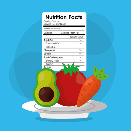 avocado tomato carrot healthy food nutrition facts label benefits vector illustration