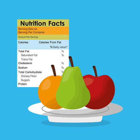 Apple pear and orange healthy food nutrition facts label benefits vector illustration
