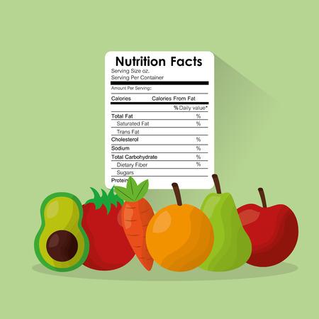 L'illustrazione sana di vettore dei benefici dell'etichetta di fatti di nutrizione dell'alimento delle verdure e della frutta beneficia Archivio Fotografico - 93608608