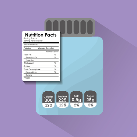 Bottle glass nutrition facts sticker information vector illustration