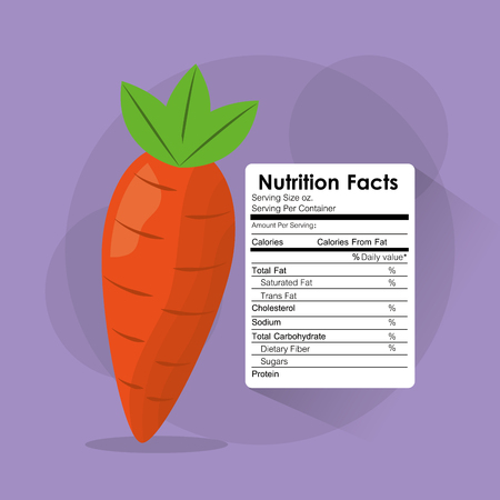 nutrition facts of carrot label content template vector illustration