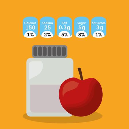 bottle glass apple fruit nutrition facts sticker information vector illustration