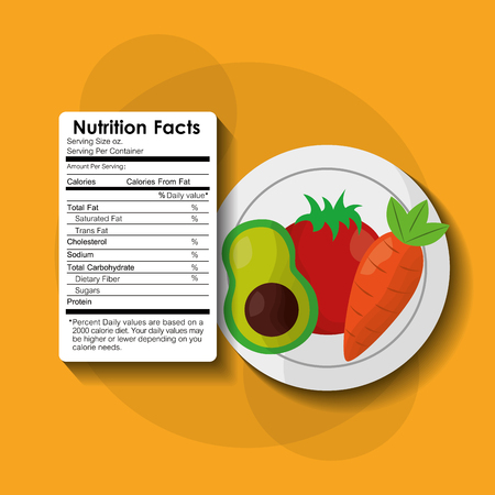 vegetables avocado healthy food nutrition facts label benefits vector illustration