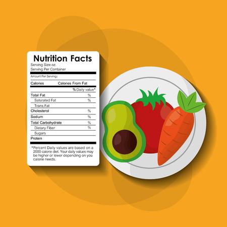 vegetables avocado healthy food nutrition facts label benefits vector illustration