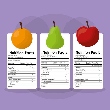 fruits healthy food nutrition facts label benefits vector illustration