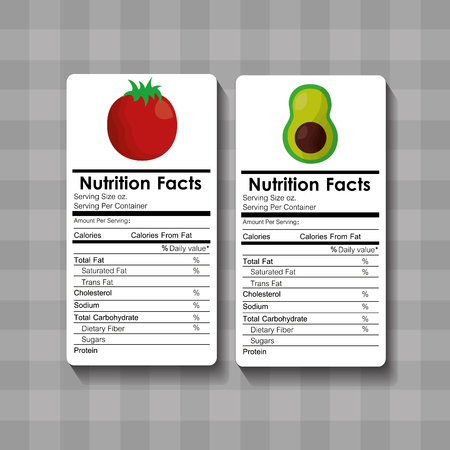 Avocado and tomato nutrition facts food label vector illustration. Ilustração