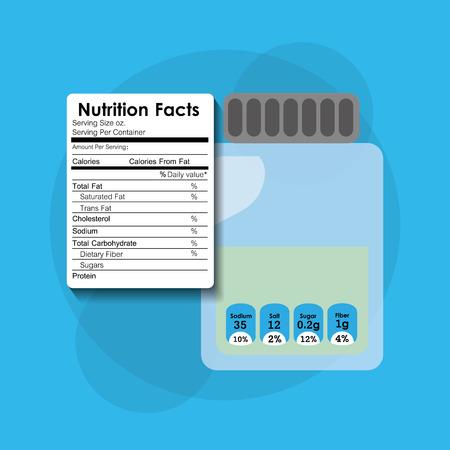 Bottle glass nutrition facts sticker information vector illustration.