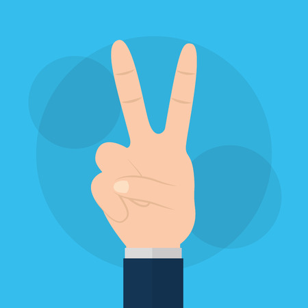 Love and peace human hand gesture vector illustration. Illustration