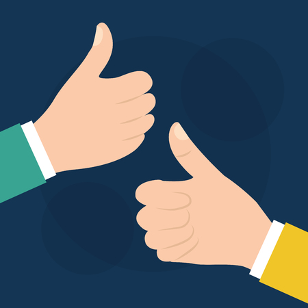 Two hand with like, ok, thumb up gesture vector illustration. Çizim