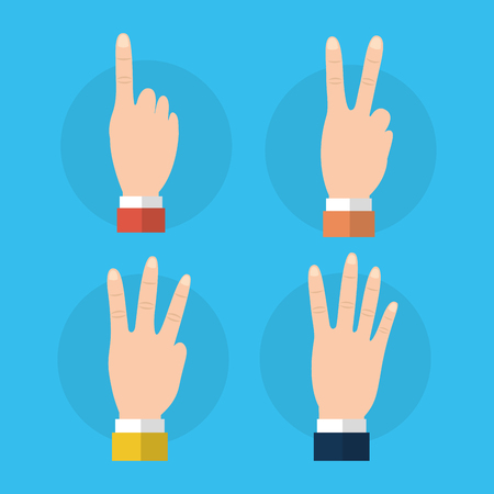 Set of hands differents numbers fingers gestures vector ilustration