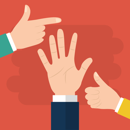 Human hand pointing like and palm options vector illustration Illustration
