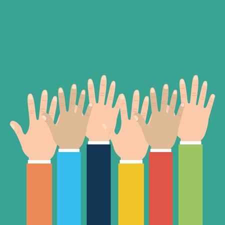 Group human hands raised multiracial vector illustration. Illustration