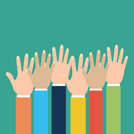 Group human hands raised multiracial vector illustration. Illustration