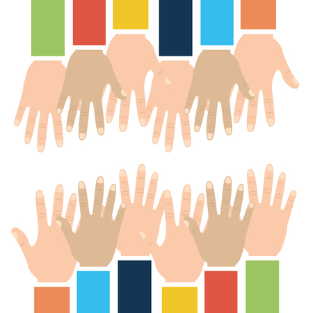 Raised arms of diversity inspiration multicolored vector illustration.