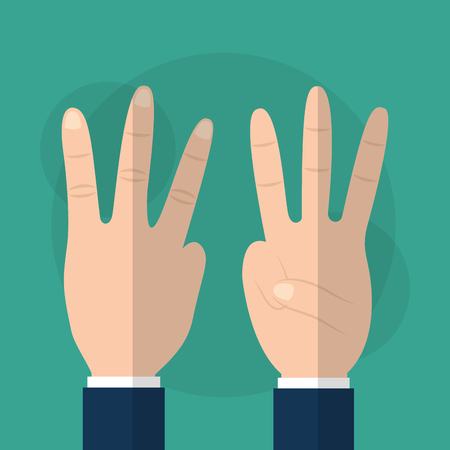 Hand showing three fingers gesturing vector illustration.