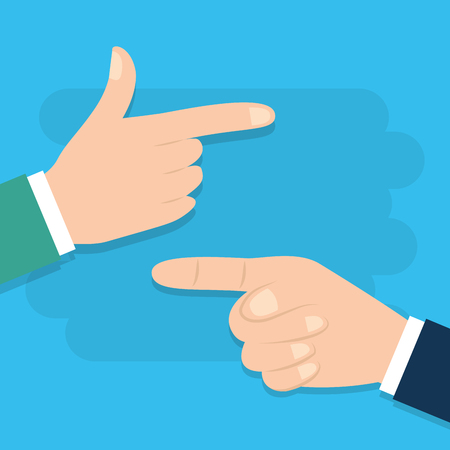 Two hands pointing with finger on side view vector illustration