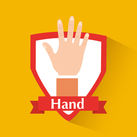 Human hand showing five fingers badge vector illustration. Ilustrace