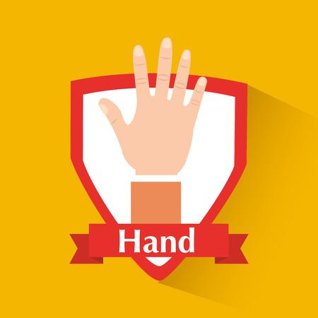 Human hand showing five fingers badge vector illustration. Illustration