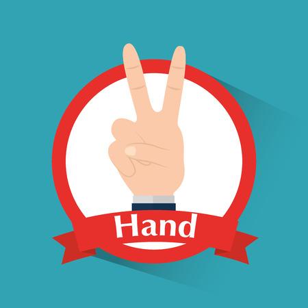 愛と平和勝利のシンボルバナーベクトルイラストを持つ人間の手