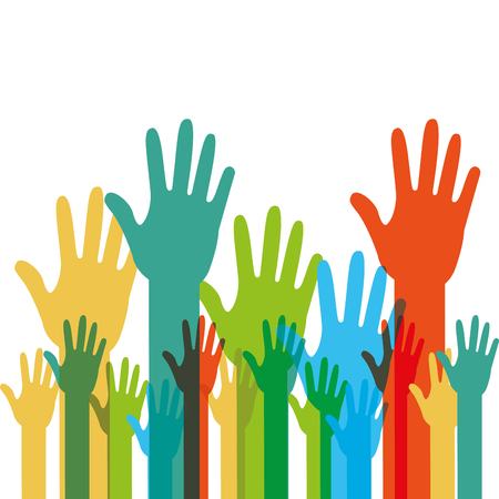 Menselijke handen opgevoed met verschillende kleuren vector illustratie. Vector Illustratie