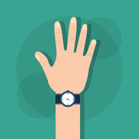 Menselijke hand met polshorloge tijd vectorillustratie