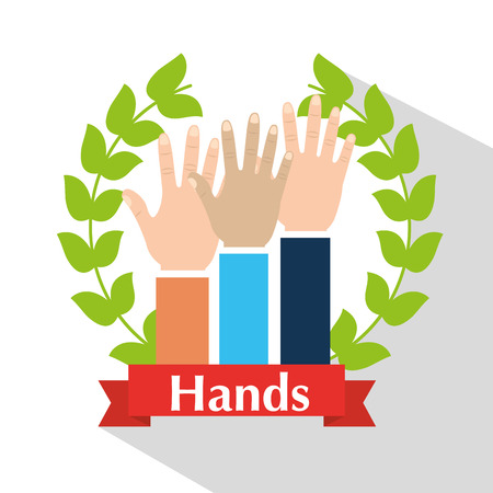 Human hands raised multiethnic wreath laurel banner vector illsutration