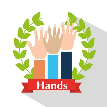 Menselijke handen verhoogd multi-etnische krans laurel banner vector illsutration