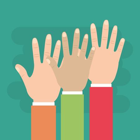 Human hands raised multiethnic team vector illsutration