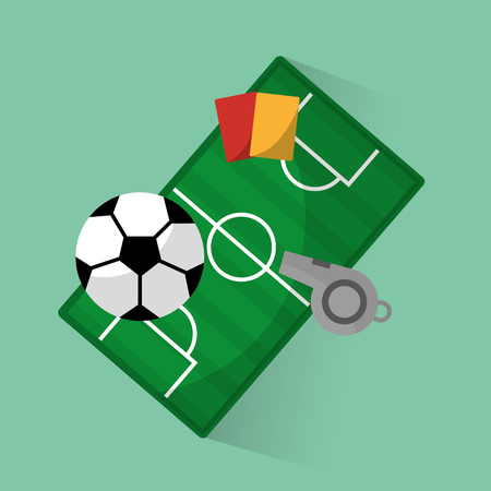Soccer club ball field red card referee whistle equipment vector illustration.