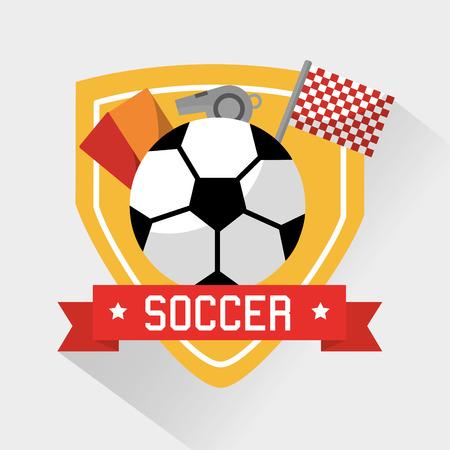 Soccer sport ball cards whistle and flag vector illustration. Illustration