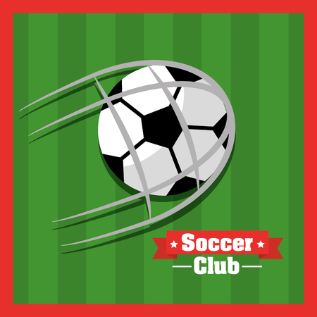 Soccer club ball goal red green background vector illustration.