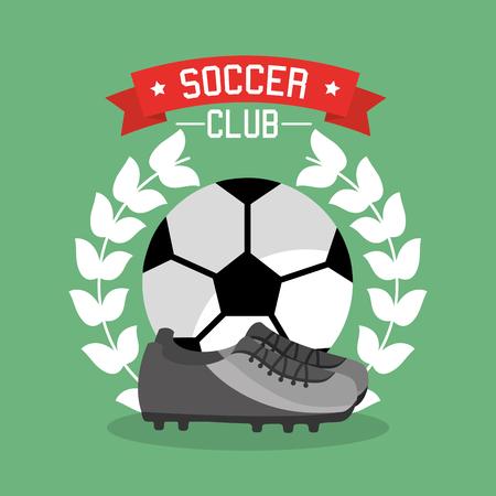 Soccer club ball sneaker laurel championship vector illustration. Ilustracja