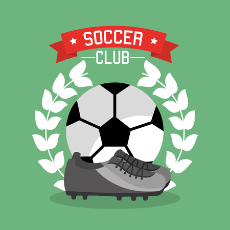 Soccer club ball sneaker laurel championship vector illustration. Illustration