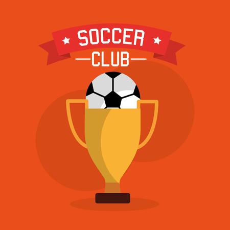 Soccer club ball trophy winner sport vector illustration.